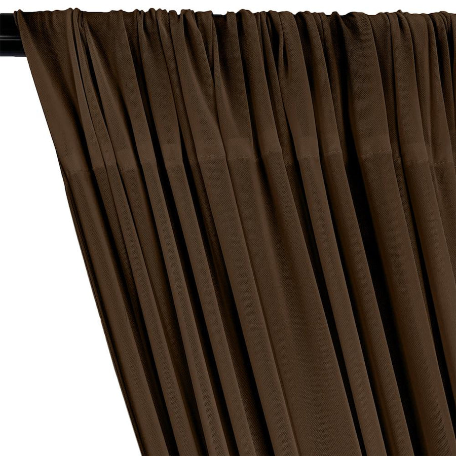 Power Mesh Rod Pocket Curtains - Brown