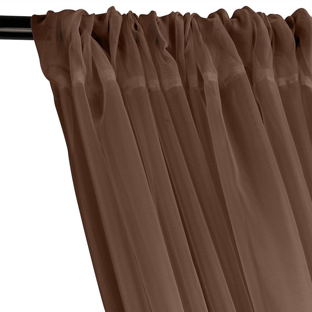 Sheer Voile Rod Pocket Curtains - Brown
