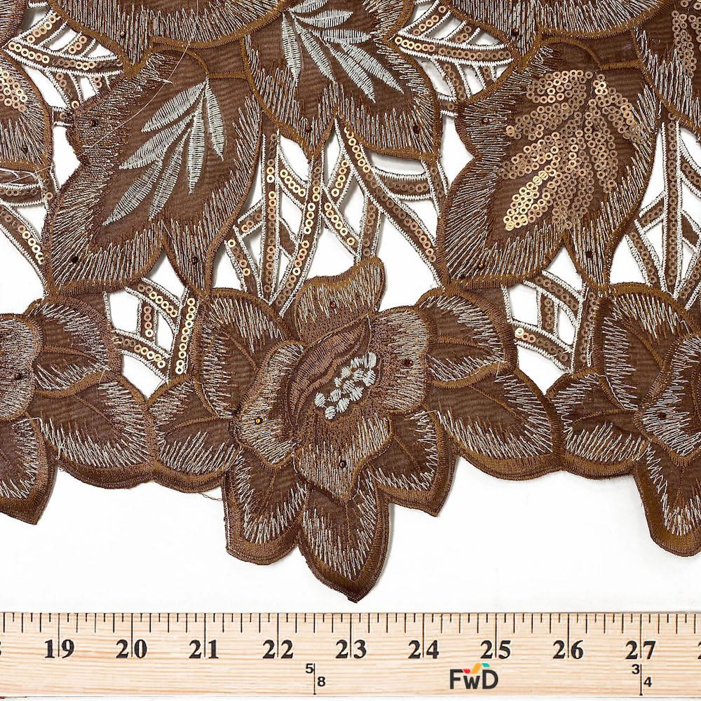metallic Leaf Floral 2 in wide Jacquard fabric trim sold by the yard