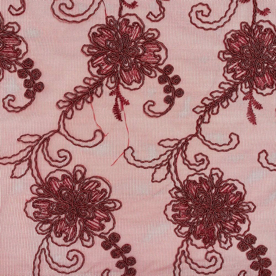 Burgundy Bridal Corded Lace on Mesh