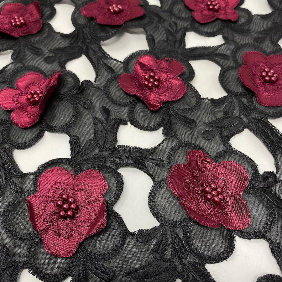Burgundy Floral Embroidery on Black Organza Lace