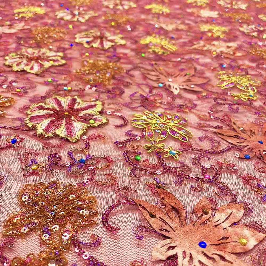 Burgundy Multi Floral Embroidery On Tulle Mesh Fabric
