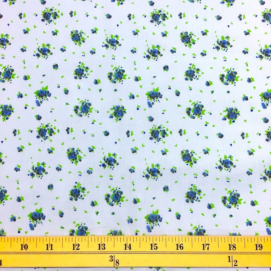 Buttercup Blue Print Broadcloth Fabric