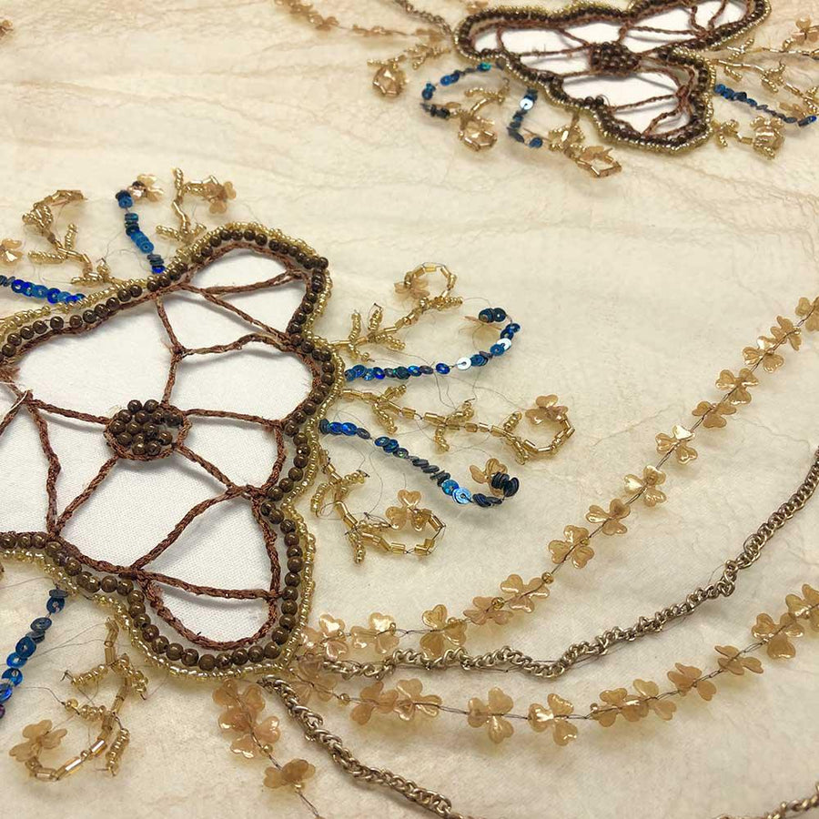 Floral Beaded Embroidery On Crushed Polyester