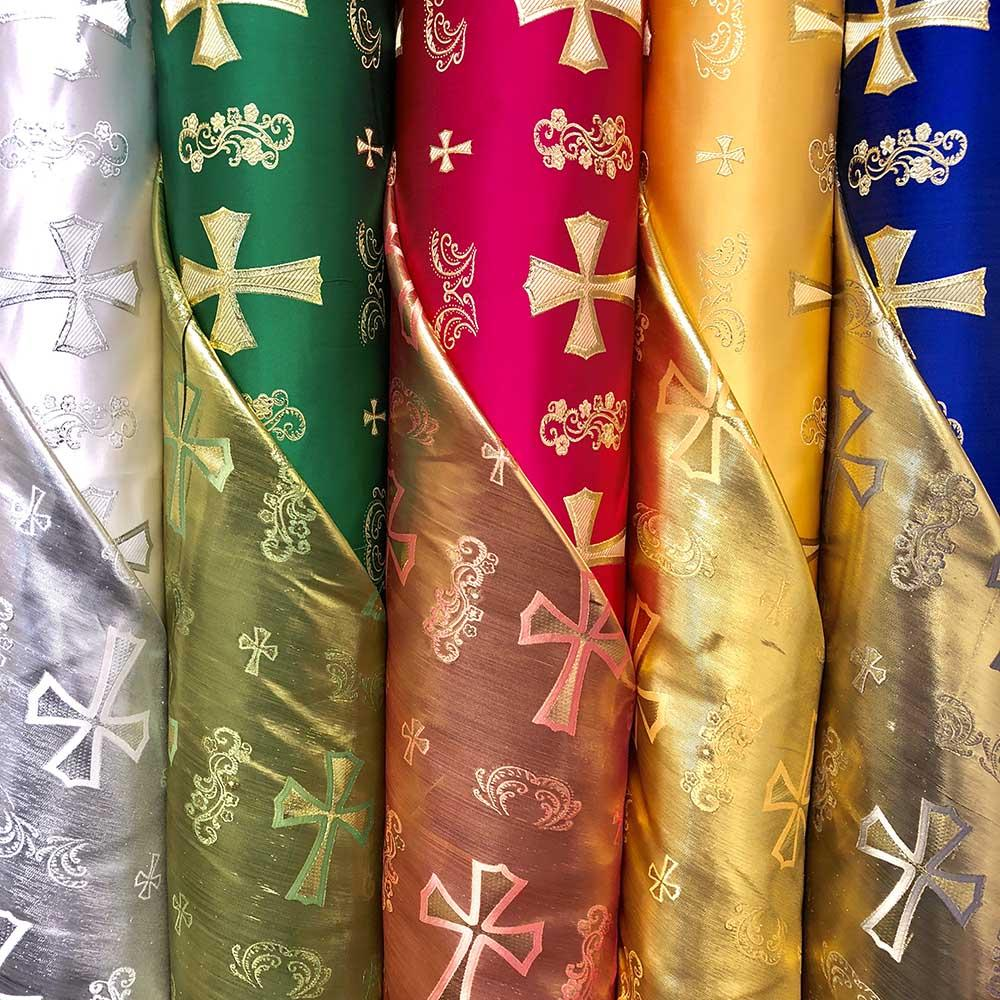 Clerical Cross Metallic Brocade Fabric