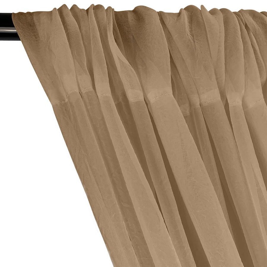 Crushed Sheer Voile Rod Pocket Curtains - Camel