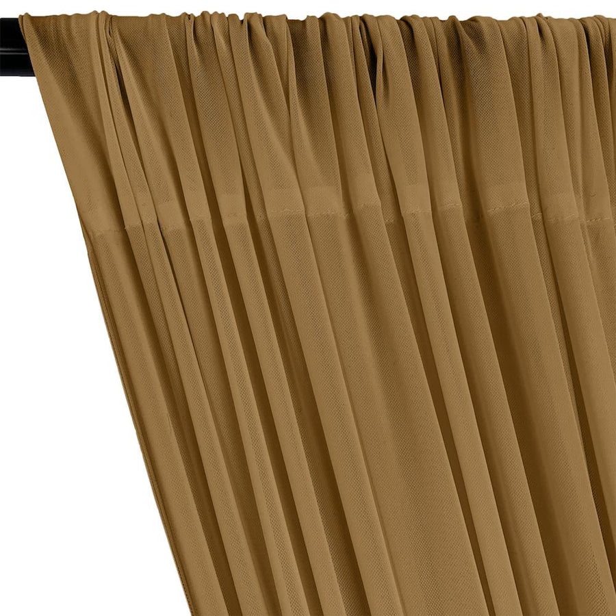 Power Mesh Rod Pocket Curtains - Camel