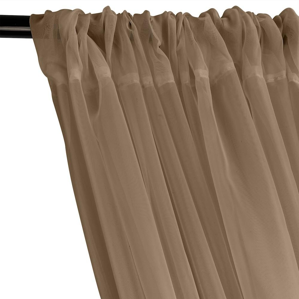 Sheer Voile Rod Pocket Curtains - Camel