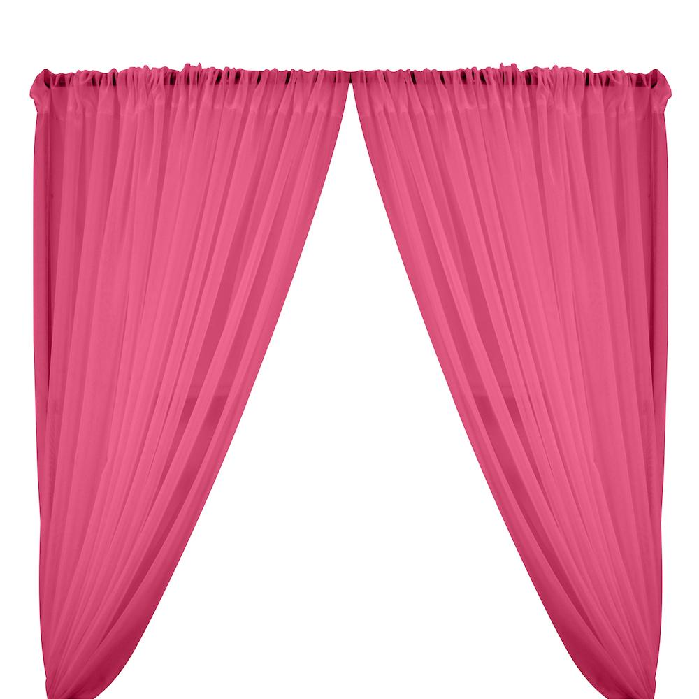 Sheer Voile Rod Pocket Curtains - Candy Pink