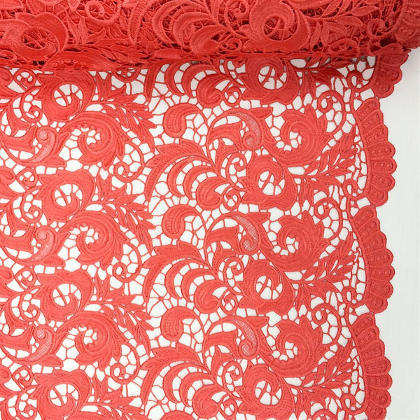 Coral Peach Cardinal Guipure French Venice Lace Fabric
