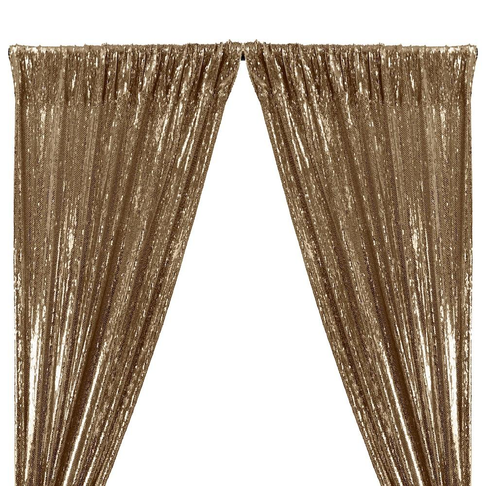 All-Over Sequins Mermaid Scale on Stretch Mesh Rod Pocket Curtains (All Colors Available) - Champagne