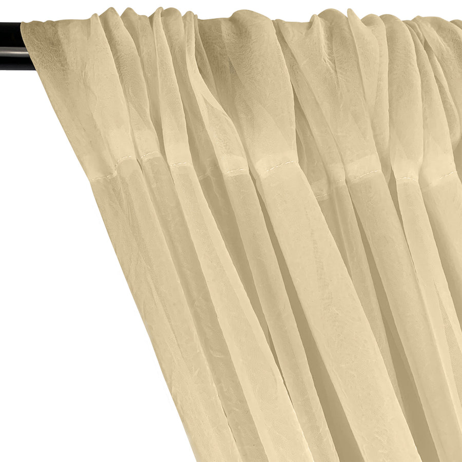 Crushed Sheer Voile Rod Pocket Curtains - Champagne