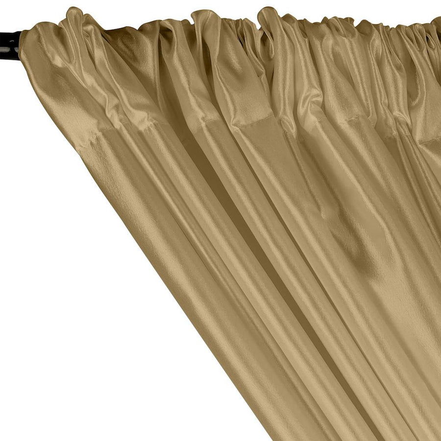 Extra Wide Nylon Taffeta Rod Pocket Curtains - Champagne