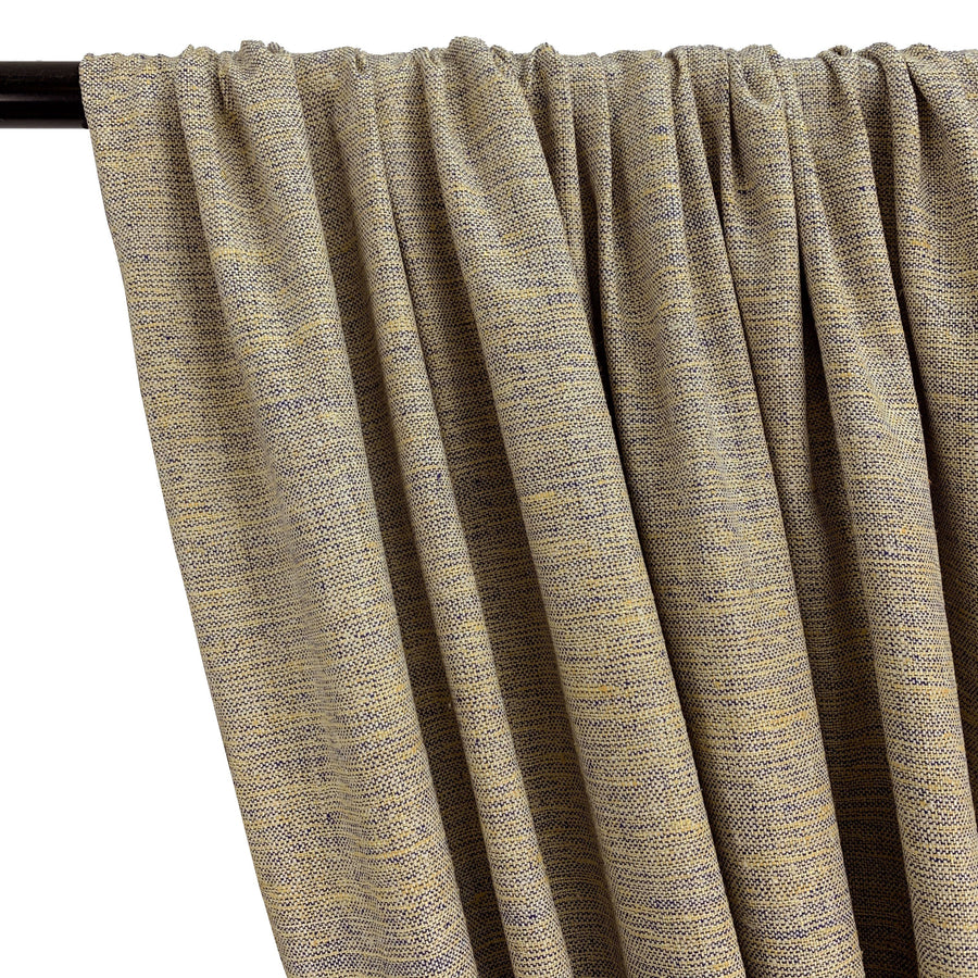 Silk Linen Matka Rod Pocket Curtains -  Champagne 2-Tone