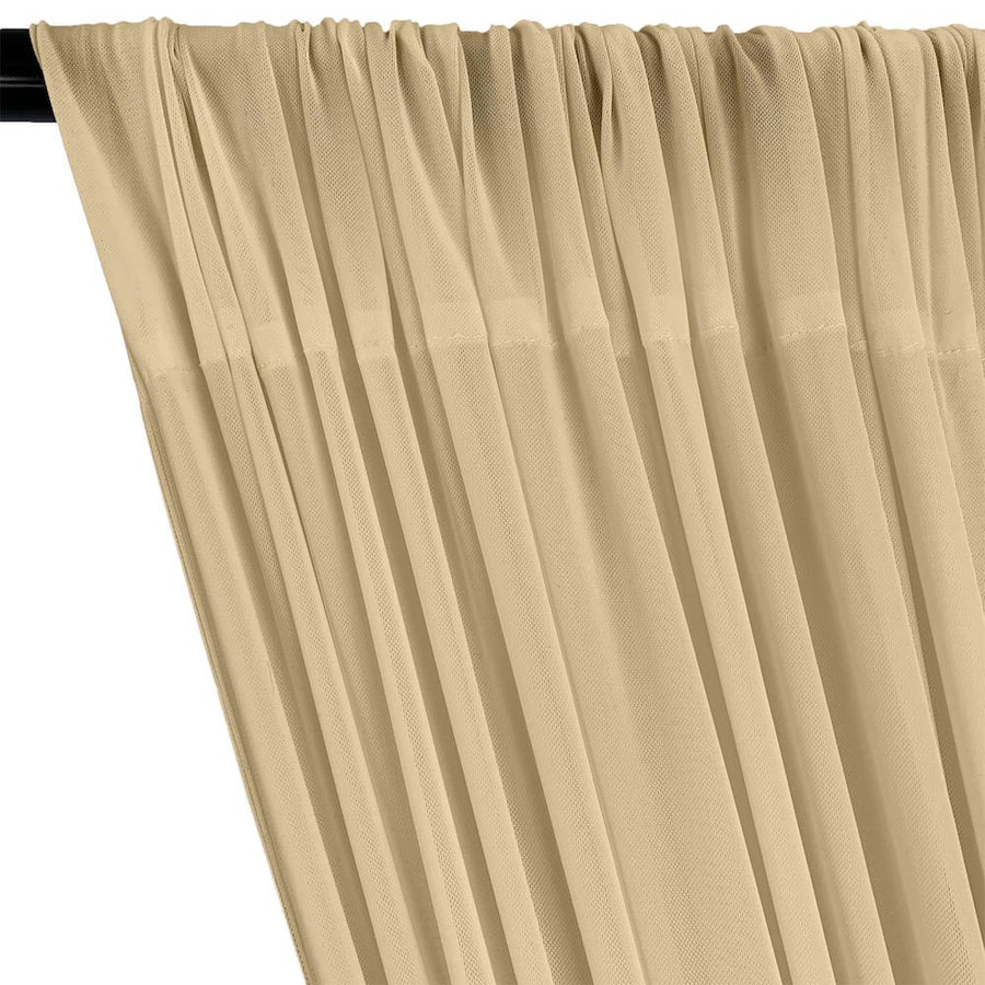 Power Mesh Rod Pocket Curtains - Champagne