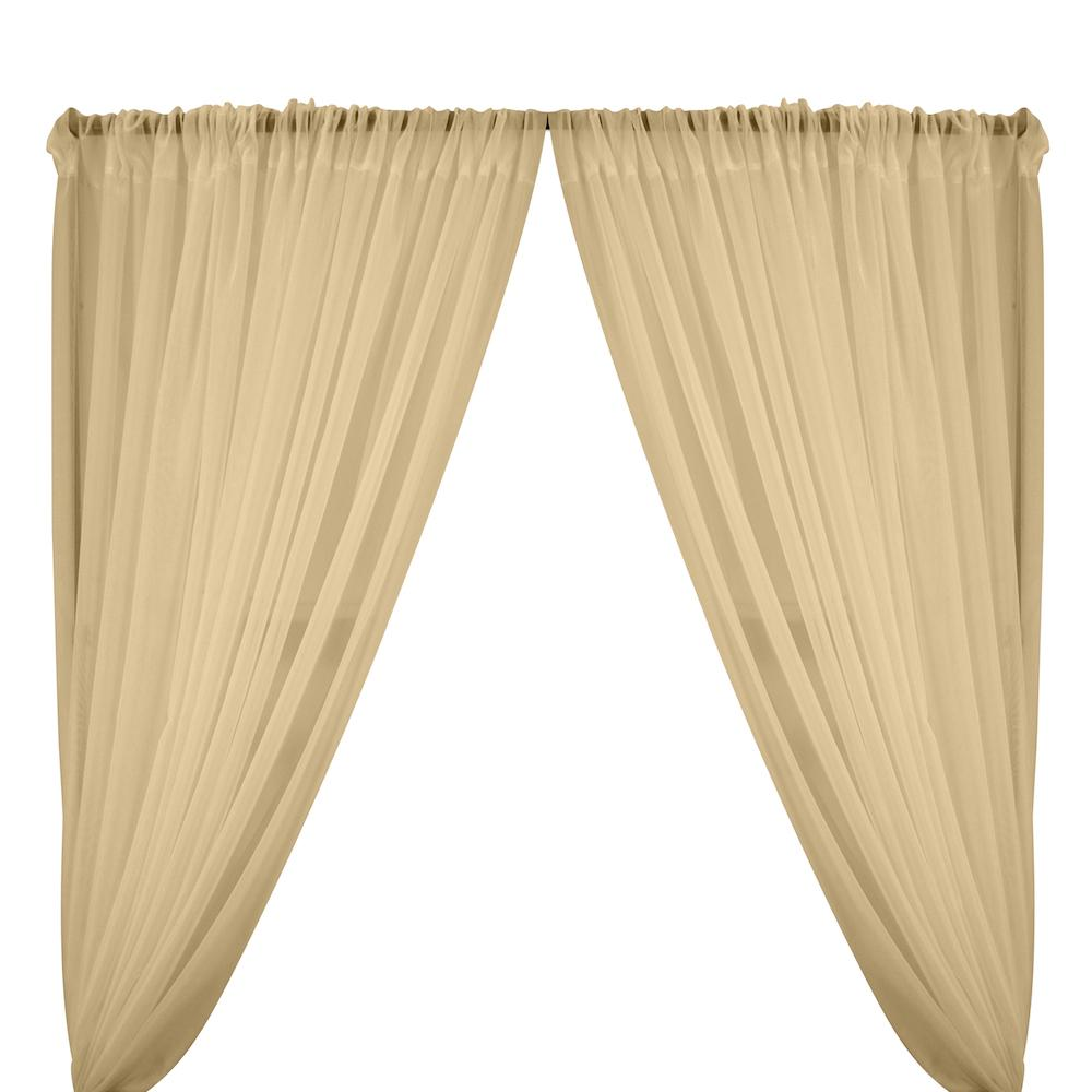 Sheer Voile Rod Pocket Curtains - Champagne