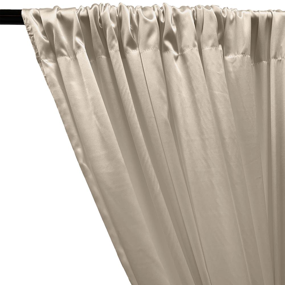 Stretch Charmeuse Satin Rod Pocket Curtains - Champagne