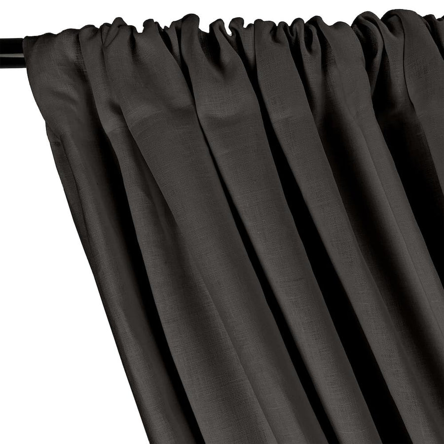 Natural Linen Rod Pocket Curtains - Charcoal Grey