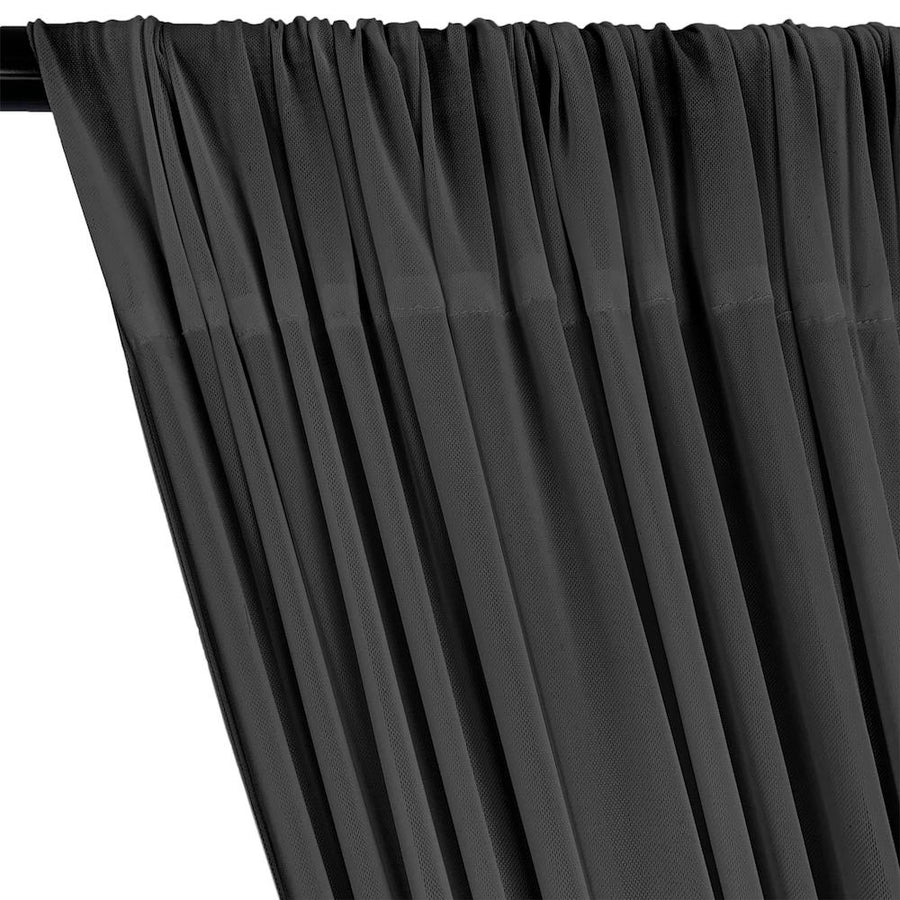 Power Mesh Rod Pocket Curtains - Charcoal