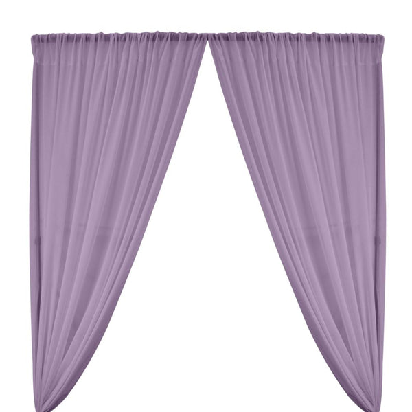 Polyester Chiffon Rod Pocket Curtains - Lilac