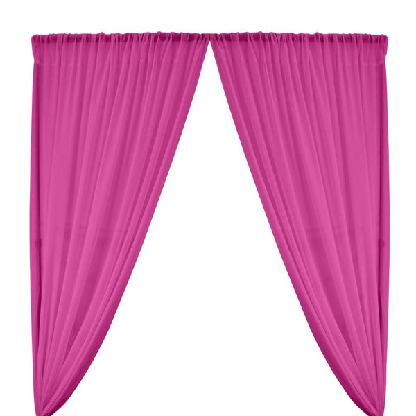 Polyester Chiffon Rod Pocket Curtains - Magenta