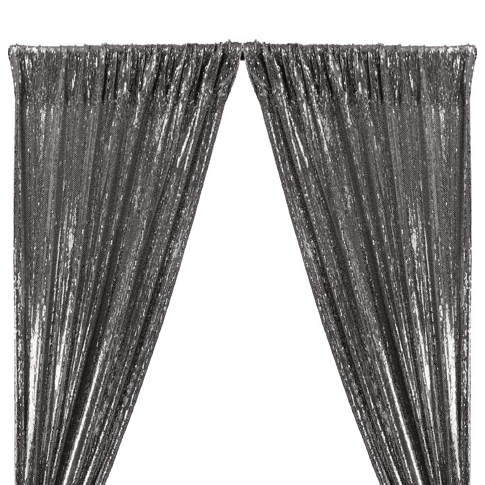 All-Over Sequins Mermaid Scale on Stretch Mesh Rod Pocket Curtains - Chrome