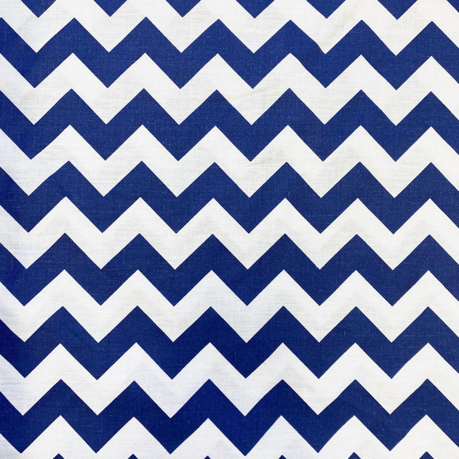 Navy Classic Chevron Printed Cotton