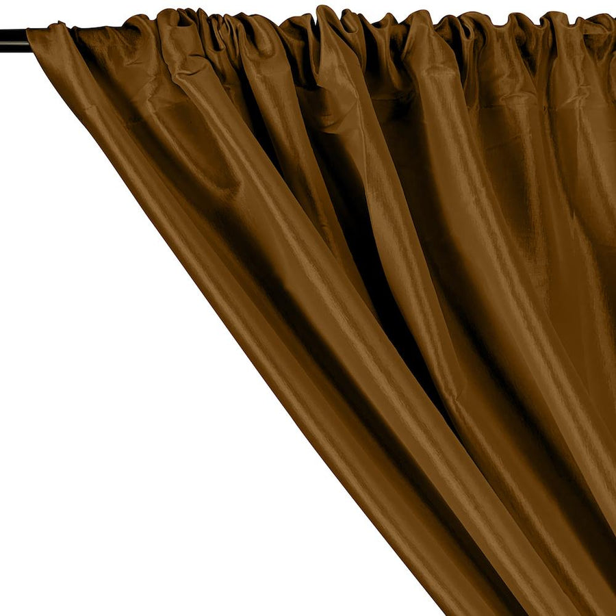 Stretch Taffeta Rod Pocket Curtains - Cocoa