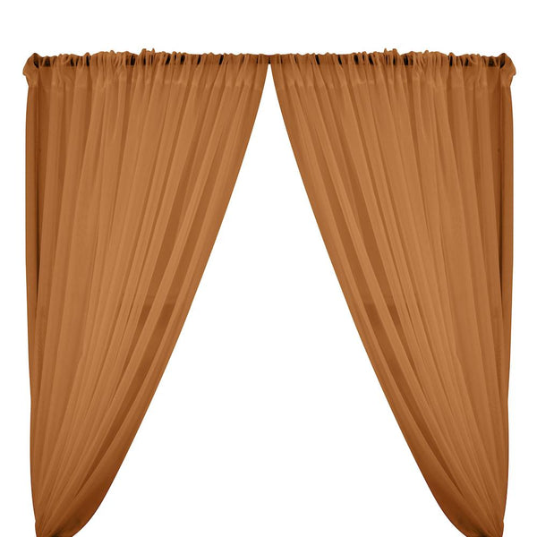 Sheer Voile Rod Pocket Curtains - Coffee