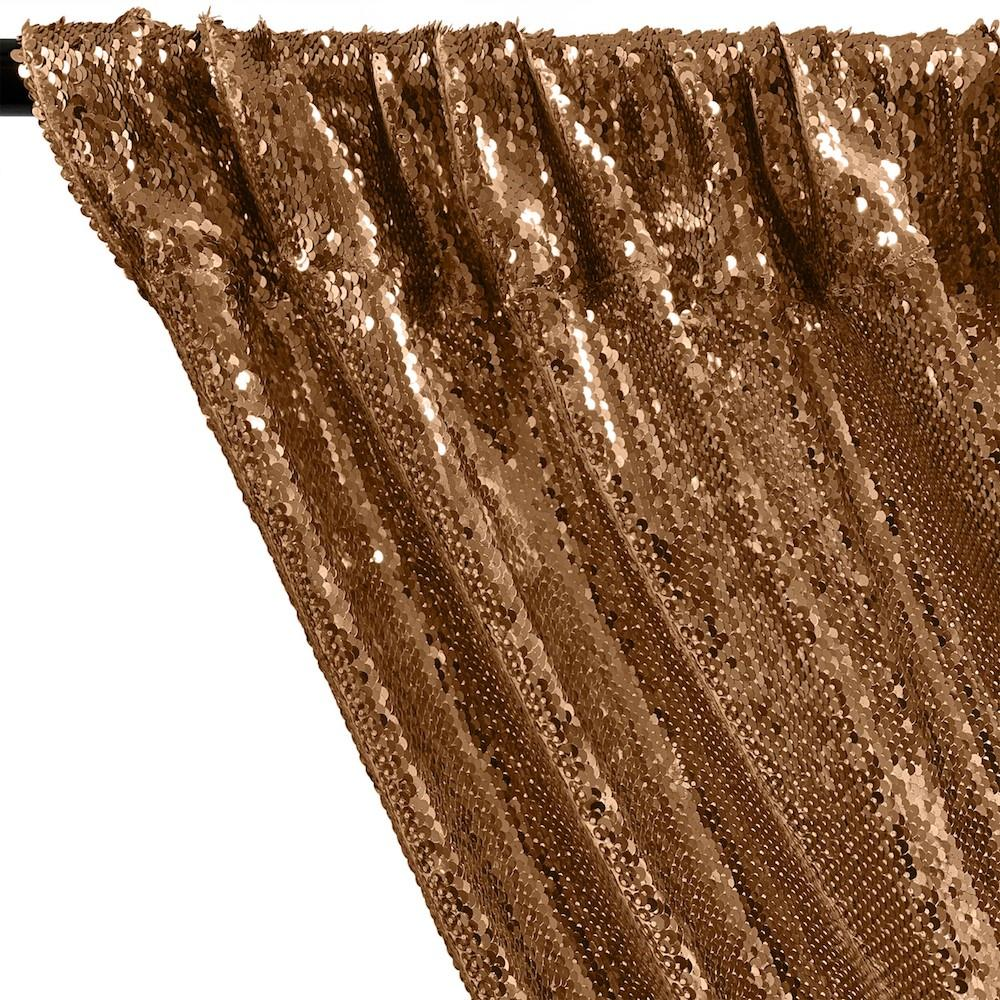 All-Over Sequins Mermaid Scale on Stretch Mesh Rod Pocket Curtains - Copper