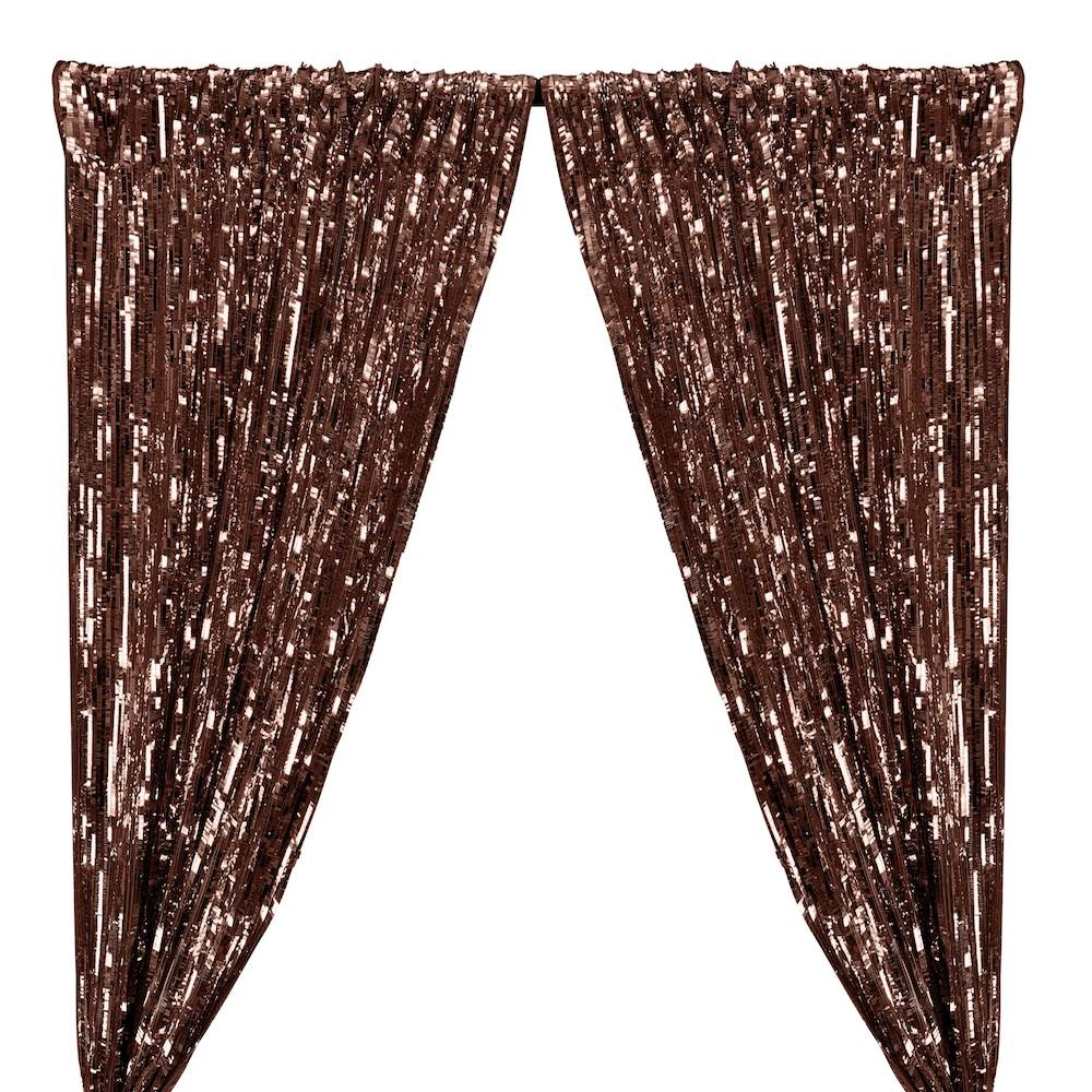 Rectangle Piano Sequins Rod Pocket Curtains - Copper