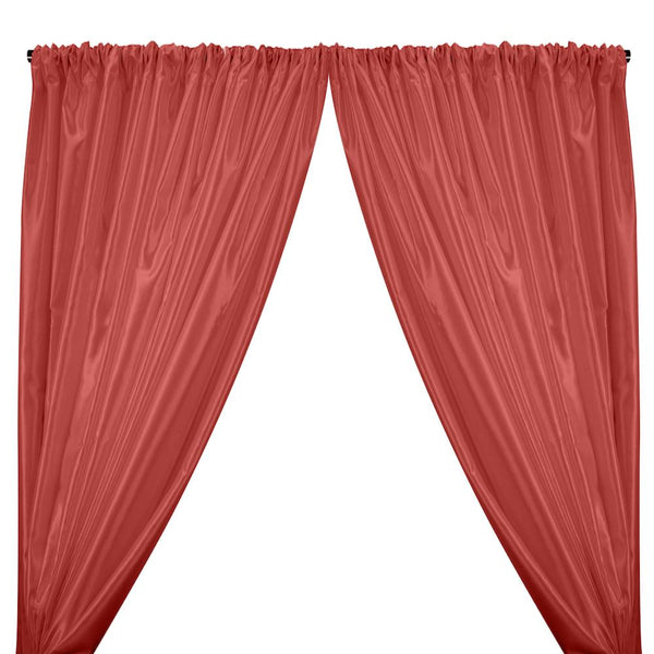 Charmeuse Satin Rod Pocket Curtains - Coral