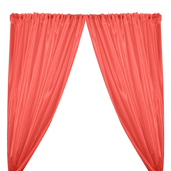 Extra Wide Nylon Taffeta Rod Pocket Curtains - Coral
