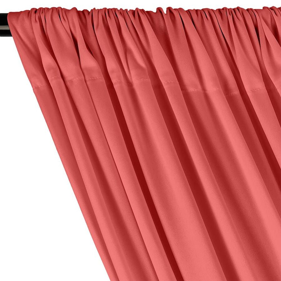 Interlock Knit Rod Pocket Curtains - Coral
