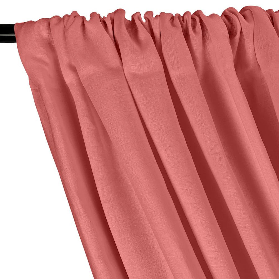 Natural Linen Rod Pocket Curtains - Coral