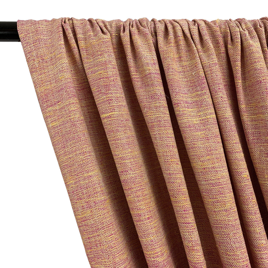 Silk Linen Matka Rod Pocket Curtains - Coral 2-Tone