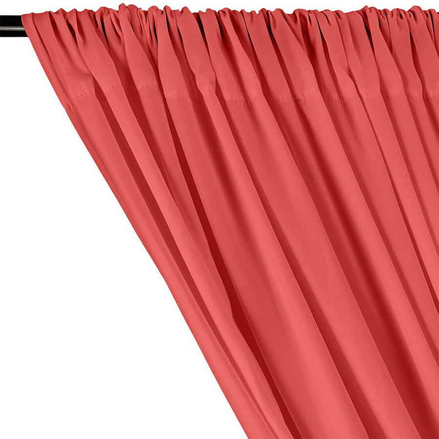 Peachskin Rod Pocket Curtains - Coral