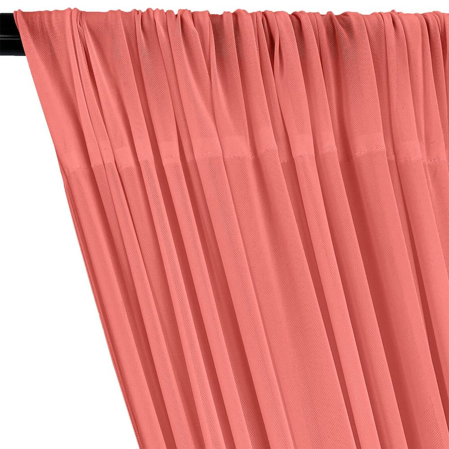 Power Mesh Rod Pocket Curtains - Coral