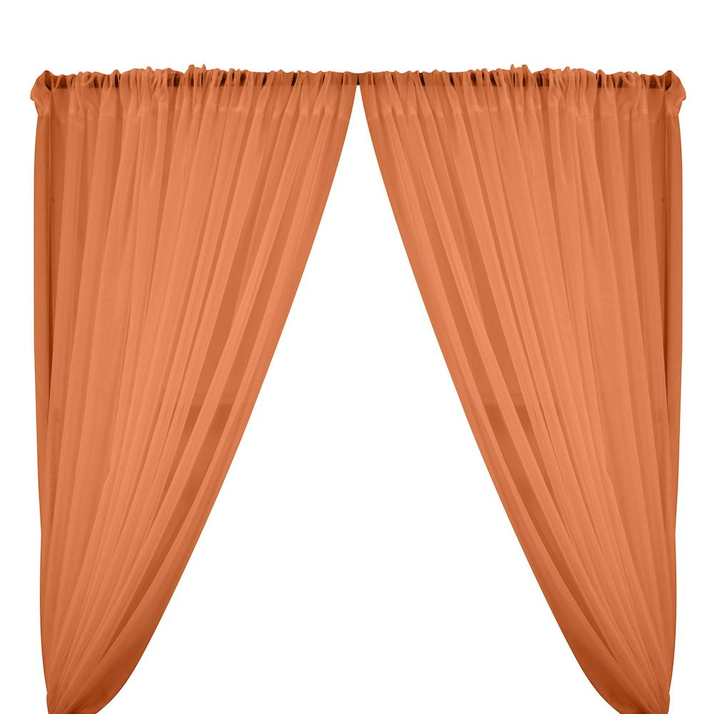 Sheer Voile Rod Pocket Curtains - Coral