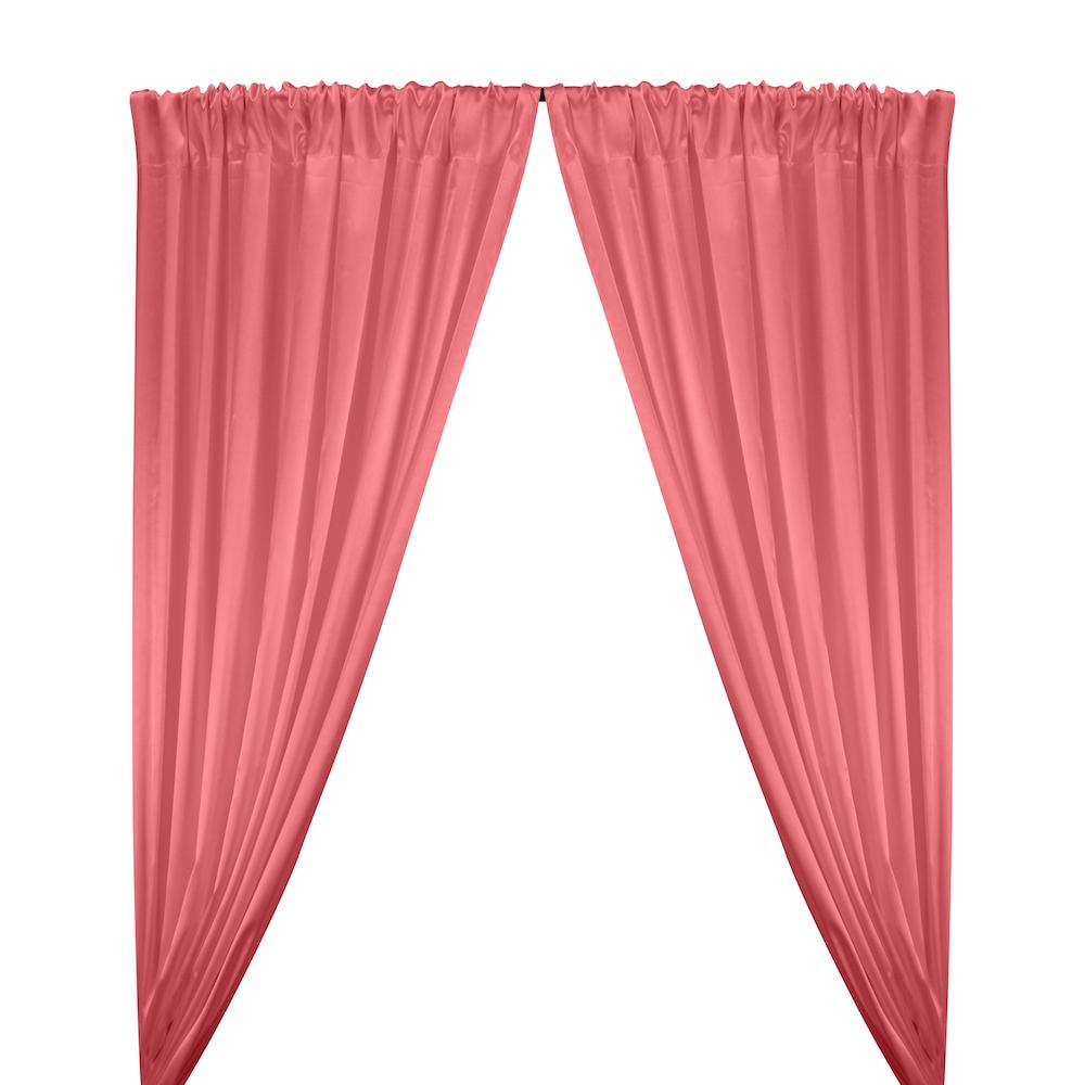 Stretch Charmeuse Satin Rod Pocket Curtains - Coral