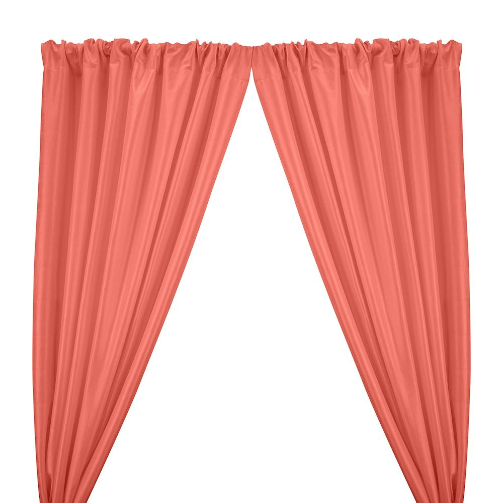 Stretch Taffeta Rod Pocket Curtains - Coral