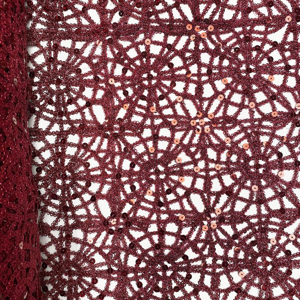 Burgundy Corded Sequin Lace