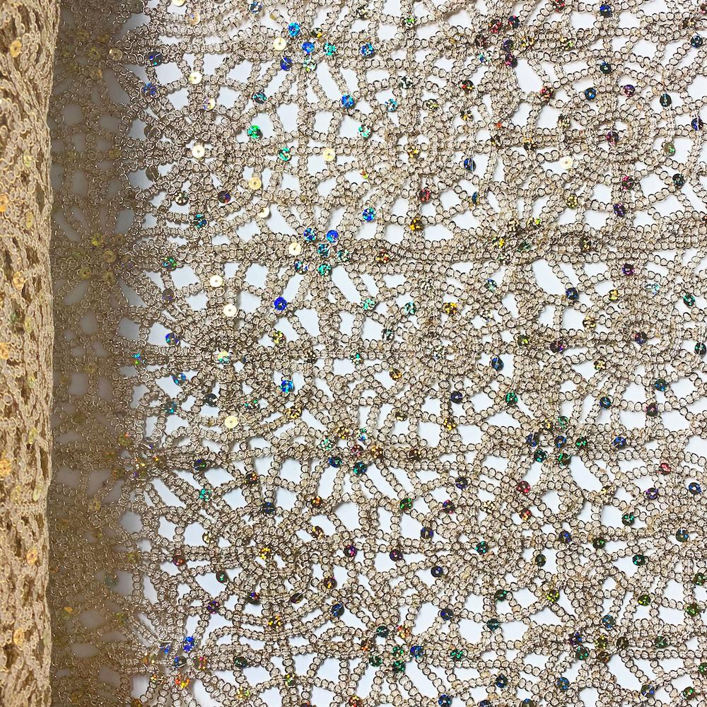 Champagne Corded Sequin Lace