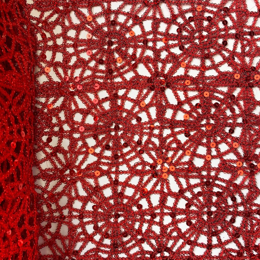 Red Corded Sequin Lace