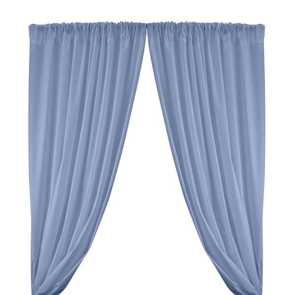 Cotton Polyester Broadcloth Rod Pocket Curtains - Light Blue
