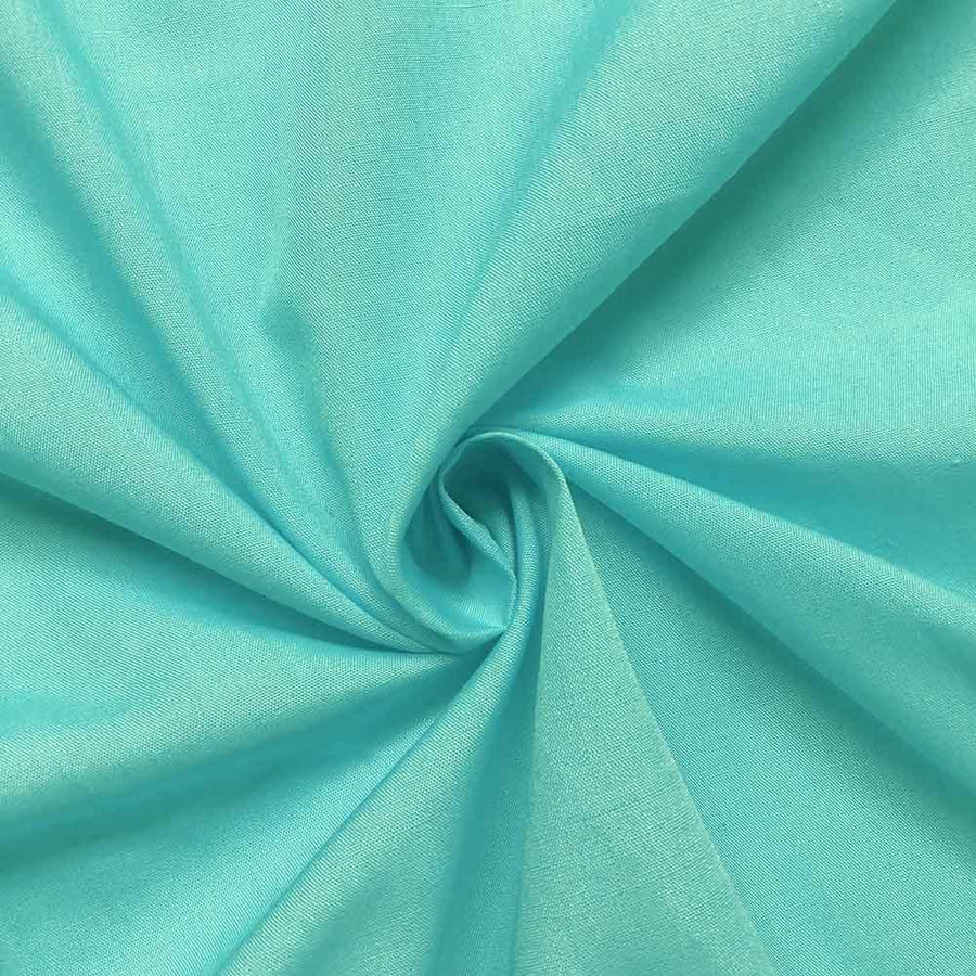 Cotton Polyester Broadcloth Rod Pocket Curtains - Aqua Blue