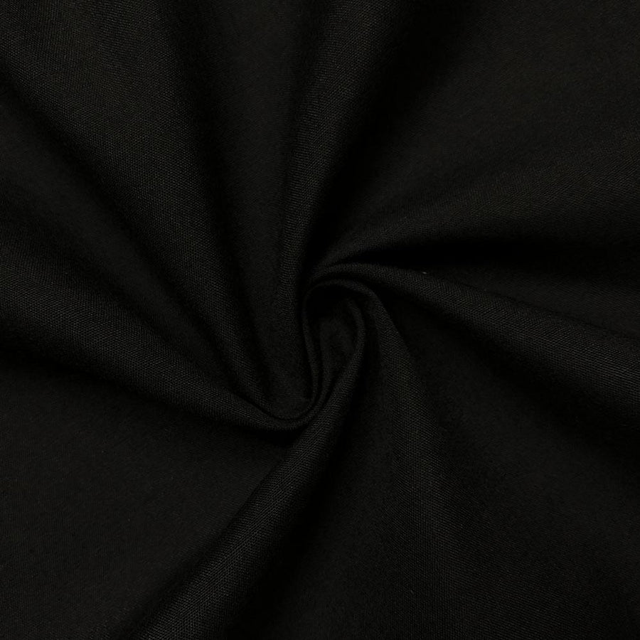 Cotton Polyester Broadcloth Rod Pocket Curtains - Black