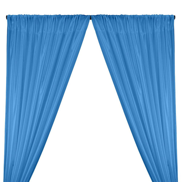 Poly China Silk Lining Rod Pocket Curtains - Dark Blue