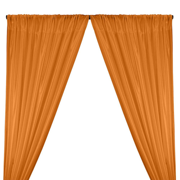 Poly China Silk Lining Rod Pocket Curtains - Dark Orange