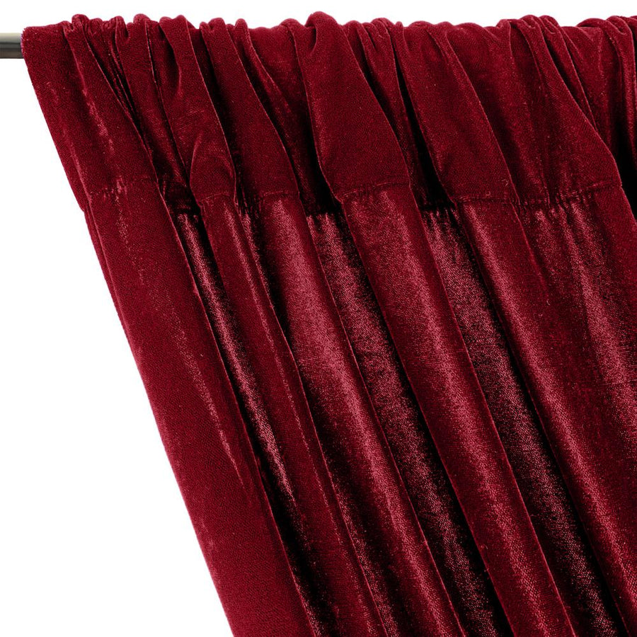 Micro Velvet Rod Pocket Curtains - Dark Red